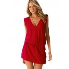 Mite Love Seksi Yazlık Plaj Elbise Likralı Kırmızı