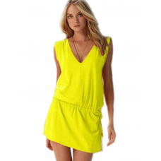 Mite Love Seksi Yazlık Plaj Elbise Likralı Sarı
